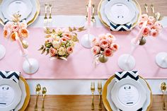 the makings of a perfect table... david austin roses, chevron, antique gold touches, the perfect not too girly pink and milk glass