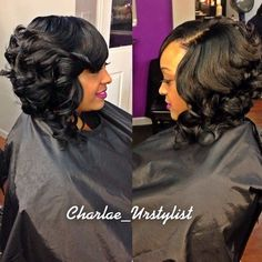 STYLIST FEATURE| Love this #curlybob ➰➰➰done by #DMVHairstylist @Charlae_Urstylist Gorgeous curls ❤️ #VoiceOFHair ========================= Go to VoiceOfHair.com ========================= Find hairstyles and hair tips! ========================= Weave Hairstyles, Pretty Hairstyles, Girl Hairstyles, Updo Hairstyle, Natural Hair Styles, Short Hair Styles, Bob Styles, Braid Styles, Birthday Hair