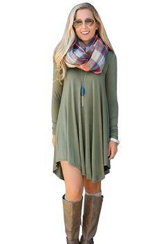 Flowy Style Midi Long Sleeve Dresses