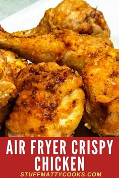 Air Fryer Crispy Fried Chicken Recipe This Airfryer Crispy Chicken Recipe is crunchy and delicious. Whether you use chicken legs, chicken thighs or chicken quarters this Airfryer Chicken Recipe make a great tasty quick dinner for the whole family. Air Fryer Recipes Snacks, Air Fryer Recipes Low Carb, Air Frier Recipes, Air Fryer Recipes Breakfast, Air Fryer Dinner Recipes, Breakfast Cooking, Fried Chicken Legs, Air Fryer Fried Chicken, Crispy Fried Chicken