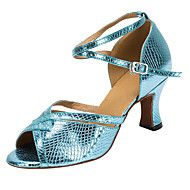 Customizable+Women's+Dance+Shoes+Leatherette+Latin+/+Salsa+Sandals+Customized+Heel+Professional+/+Indoor+Blue+–+AUD+$+110.41