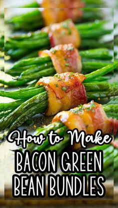 These bacon wrapped green bean bundles are the perfect elegant side dish for any meal! Best Appetizer Recipes, Supper Recipes, Best Dinner Recipes, Delicious Dinner Recipes, Healthy Meal Prep, Healthy Recipes, Easy Recipes, Green Bean Bundles, Bacon Wrapped Green Beans