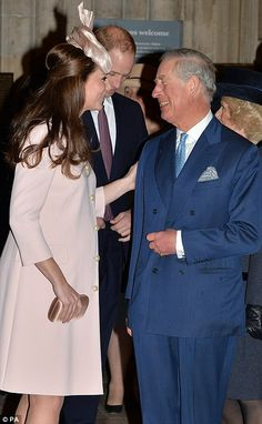 Gathering: The Duchess of Cambridge also traded kisses with Camilla before enjoying a joke...