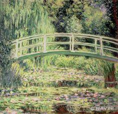 클로드 모네(Claude Monet, 1840-1926)는 1871년 아르장퇴유(Argenteuil)에 처음으로 집을 구한 이후 1926년 지베르니(Giverny)에서 사망하기까지 많은 돈과 시간을 꽃이 있는 정원에 투자했다. 1890년대에 경제적인 성공을 거둔 이후로 그는 1893년 지베르니에 이사를 했으며 이곳에 정원을 조성하며 이 일본식 다리를 놓았다. 하지만 초목들이 다 자라 모네가 원하던 형태의 정원이 완성되기까지는 몇 년이 걸렸고, 이 다리를 그리기 시작한 것은 1899년 이후였다. 1899년 6월 그는 일본식 다리의 풍경을 주제로 하는 연작을 시작하여 18개의 연작을 제작하였다.   연못바닥 곳곳에 비춰지는 하늘과 이를 더해주는 따스한 햇빛은 정말 개운한 느낌이다.