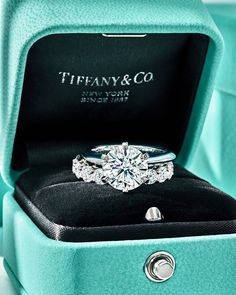 Tiffany Engagement, Round Diamond Engagement Rings, Engagement Ring Settings, 15th Wedding Anniversary Gift, Unique Diamond Rings, Sapphire Wedding, Tiffany And Co, Tiffany Blue, Gothic Jewelry