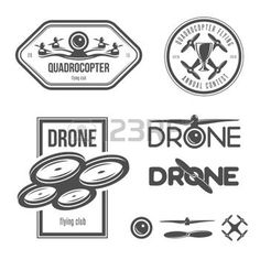 Vector set of drone flying club labels, badges and design elements. photo