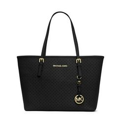 MICHAEL Michael Kors Small Jet Set Perforated Travel Tote Black