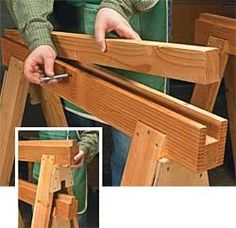 """Replaceable Inserts Save Sawhorses In one regard, these sawhorses are like any others — they get chewed up with use. What's different about them is they have a replaceable insert made from 2x stock."""