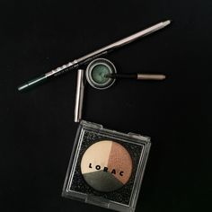 Having a green moment with our LORAC Starry-Eyed Baked Eye Shadow Trio, Front of the Line PRO Eye Pencil and PRO Cream Metallic Eyeliner! Xo Carol