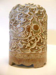 CHINESE BRUSH POTS | Beautiful Hand Carved Chinese Brush Pot 025 | eBay
