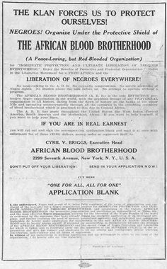 The African Blood Brotherhood advertisement and membership application, published in the The Crusader, 1918-1922. Description from amistadresource.org. I searched for this on bing.com/images