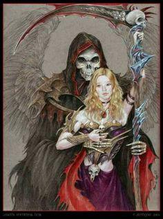 Grim Reaper fantasy Tattoo idea. Reaper with pin up girl