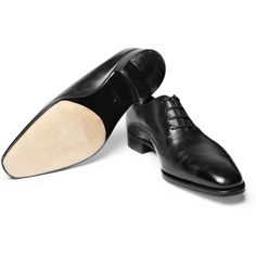 John Lobb Prestige Becketts Leather Oxford Shoes (€1.510) ❤ liked on Polyvore featuring men's fashion, men's shoes, men's dress shoes, mens leather shoes, mens rubber sole shoes, mens black leather dress shoes, mens oxford dress shoes and mens black dress shoes
