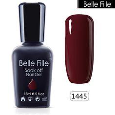 벨 Fille UV Gelpolish 자료 탑 코트 젤 네일 폴란드어 UV LED 뱀파이어 혈액 레드 와인 매니큐어 블랙 흡수 광택