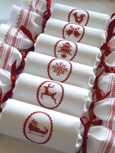 Scandi Cross Stitch Reusable Christmas Crackers by Kate Sproston Design www.katesprostondesign.com