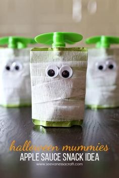 Whether you have a #Halloween party, a child's classroom party, or just a night at home with your family- these creative Halloween food ideas will be perfect for any occasion.: Halloween Mummy Apple Sauce Snack #cbloggers #diy #halloweenfun #halloweentreat