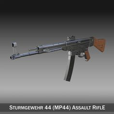 Sturmgewehr 44 - MP44 - German Assault Rifle 3D Model- Originally modelled in cinema4D. Detailed enough for close-up renders. The zip-file contains bodypaint textures and standard materials.    Features:  - Inside scene: -model - 6 textures  - All materials, bodypaint-textures and textures are included.  - No cleaning up necessary, just drop your models into the scene and start rendering.  - No special plugin needed to open scene.    - Phong shading interpolation / Smoothing - 35°    - c4d…