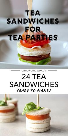 These tea sandwiches from Oh, How Civilized are the most delicious bite-sized sandwiches! These sandwiches are made to be eaten in the afternoon at tea time. If you're looking for finger sandwiches that are adorable and tasty, these recipes are perfect for you! #teasandwhiches #fingersandwhiches #teatime #afternoontea Easy Finger Sandwiches, Tea Party Sandwiches, Easy Sandwich Recipes, Easy Recipes, Tea Party Snacks, Tea Time Snacks, Tea Party Recipes, High Tea Recipes, Tea Party Menu
