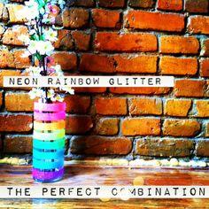Hey! Look what I Made!: Neon Rainbow Glitter Vase
