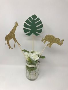 Excited to share this item from my shop: Jungle Party Safari Centerpiece. set of 6 centerpiece sticks ) Safari Baby Shower Decoration. Safari Centerpieces, Baby Shower Centerpieces, Baby Shower Decorations, Birthday Centerpieces, Safari Table Decorations, Tropical Centerpieces, Safari Baby Shower Cake, Boho Baby Shower, Baby Shower Jungle