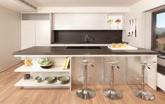 Kitchen Decorating in Modern Style Using Grey Bench, Stainless Steel Island & Dark Bench -