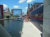 Baltimore inner harbor with aquarium buildings