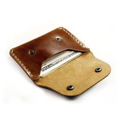 Handmade Leather Wallet Slim Flap wallet for credit cards and cash in chestnut brown leather. $28.99, via Etsy.