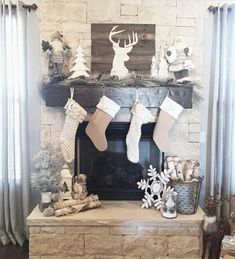 Awesome #rustic Christmas Mantel Decor Idea #christmas #christmasdecor #christmasmantel