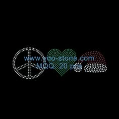 New Product! Peace Love Hat Rhinestone Transfer Wholesale