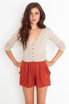 Drape Pocket Shorts - Rust - StyleSays