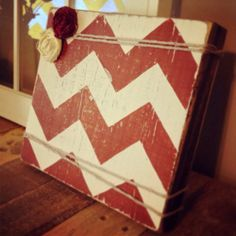 Chunky Wood Block Photo Frame on Etsy, $10.00. This is the neatest idea & love the red chevron.