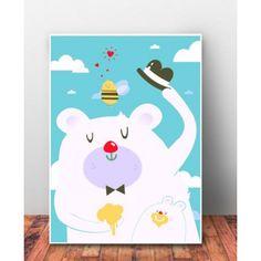 """Plakat dziecięcy """"Pan Miś w Białych Chmurkach"""". Idealny prezent baby shower, urodziny, czy święta."""