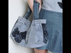 DIY: (Part 2 of 2) Recycled Jeans BAG (How to make a denim bag) - YouTube.  This continues from Part 1