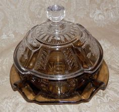 Vintage IMPERIAL GLASS Candy Dish Lidded BROWN & CLEAR #ImperialGlass