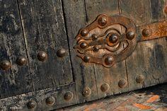 large old door hinge in Kasbah of the Oudayas - Rabat, Morocco