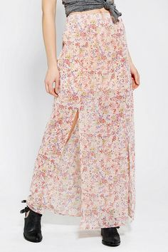 Pins And Needles Silky Double-Slit Maxi Skirt #urbanoutfitters #maxi #trend