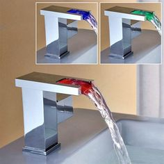 Sumerain S1334CM LED Thermal Waterfall Bathroom Sink Faucet