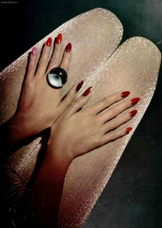 "80s-90s-supermodels:""Vos Ongles"", L'OFFICIEL France, 1972 Photographer: Ronald Bianchini"