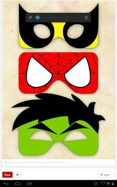 spiderman mask template super cute masks for photo booth or goodie bags. Hulk Birthday, Avengers Birthday, Superhero Birthday Party, Boy Birthday, Birthday Ideas, Birthday Parties, Comic Book Paper, Hulk Party, Batman Party