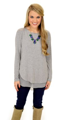 Double Your Fun Top, Grey