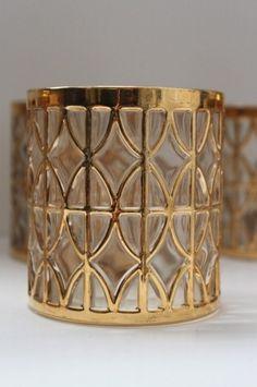RESERVED for Rachel - Vintage Hollywood Regency Mad Men Barware Lowball Rocks Glasses Set by Imperial Glass.