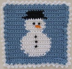 Snowman - crochet free pattern-  from bestfreecrochet.com (make another plain blue square, join together with the edging..........potholder to match)