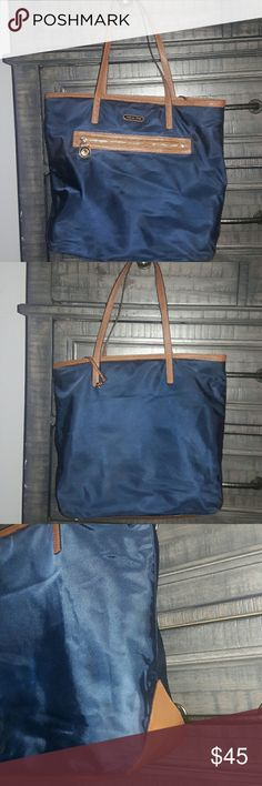 Michael Kors tote Navy blue nylon and leather tote. Good condition. Bags Totes