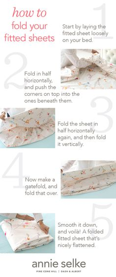 Stumped on how-to fold fitted sheets? Get a step-by-step guide from Annie Selke on best practices for folding fitted sheets and tips to keep organized. Konmari, Cleaning Solutions, Cleaning Hacks, Folding Fitted Sheets, Murphy Bed Plans, Laundry Hacks, Homekeeping, Home Hacks, My New Room