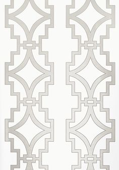 Songyue #wallpaper in #pearl. Songyue mimics the bold shapes and designs of architectural Chinese fretwork. Songyue Embroidery is a coordinating fabric on linen ground with delicate and ornate stitching detail outlining the thick trellis pattern. #Thibaut