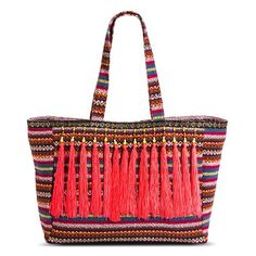 20 Swoon Worthy bags from Target! Women's Striped Tote Handbag with Neon Beaded Tassels - Pink