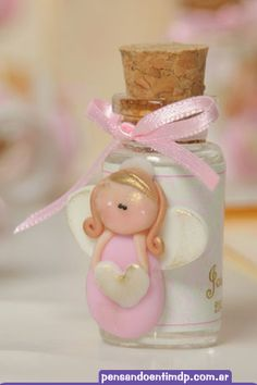 agua bendita Diy Clay, Clay Crafts, Diy And Crafts, Angel Baby Shower, Fete Ideas, Polymer Clay Ornaments, Cute Clay, Ideas Para Fiestas, Pasta Flexible