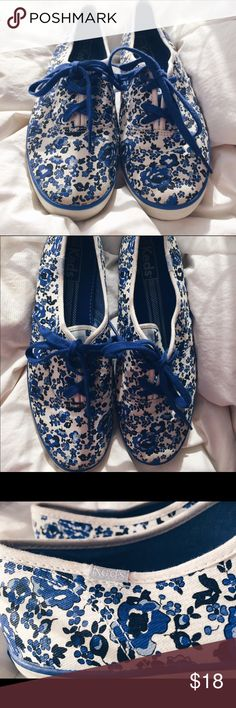Adorable blue floral Keds! Lightly used Keds! Super comfortable, but very stylish. They are a great piece to make any outfit pop! Keds Shoes Sneakers