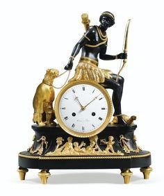 A PATINATED AND GILT-BRONZE MANTEL CLOCK, EMPIRE, THE DIAL SIGNED TERRIEN À PARIS