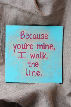 Quote Painting Canvas Song Lyric Art Walk the Line Johnny Cash Wall Art Home Decor Teal Red Texture by SilverBirdBoutique
